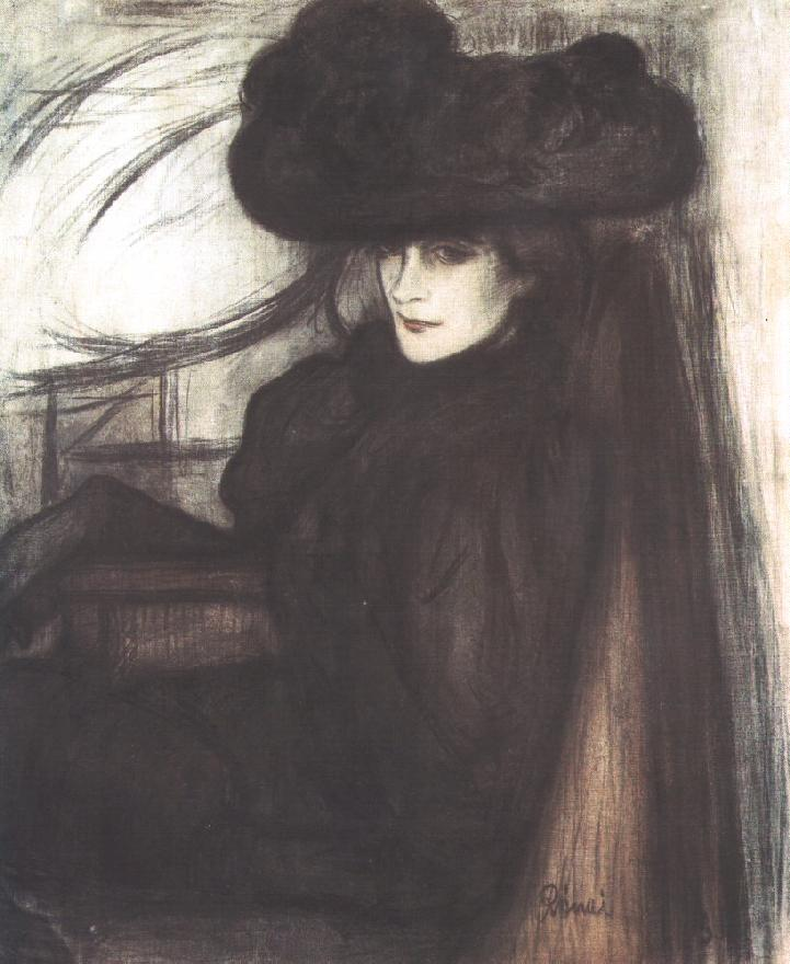 Lady with Black Veil 1896 | Jozsef Ronal Rippl | Oil Painting