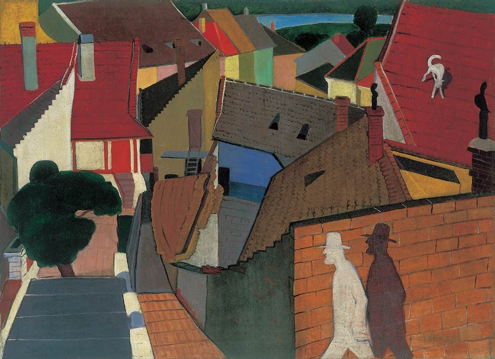 Roofs at Szentendre 1930s | Geza Voros | Oil Painting