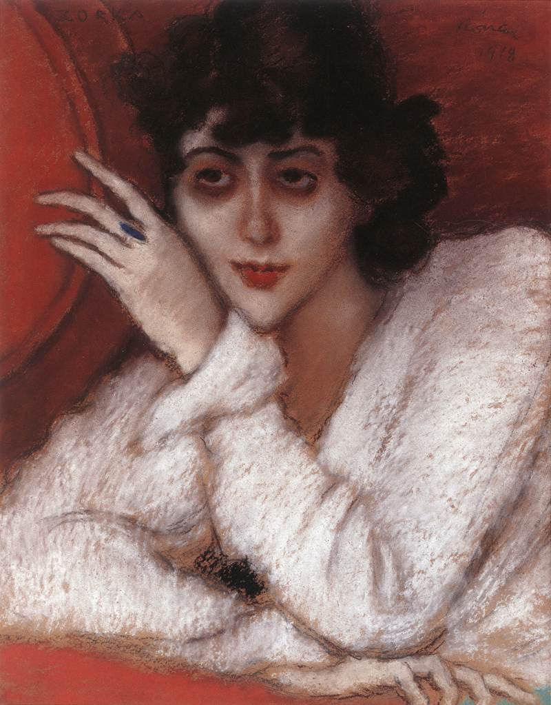 Zorka in a Red Armchair 1918 | Jozsef Ronal Rippl | Oil Painting