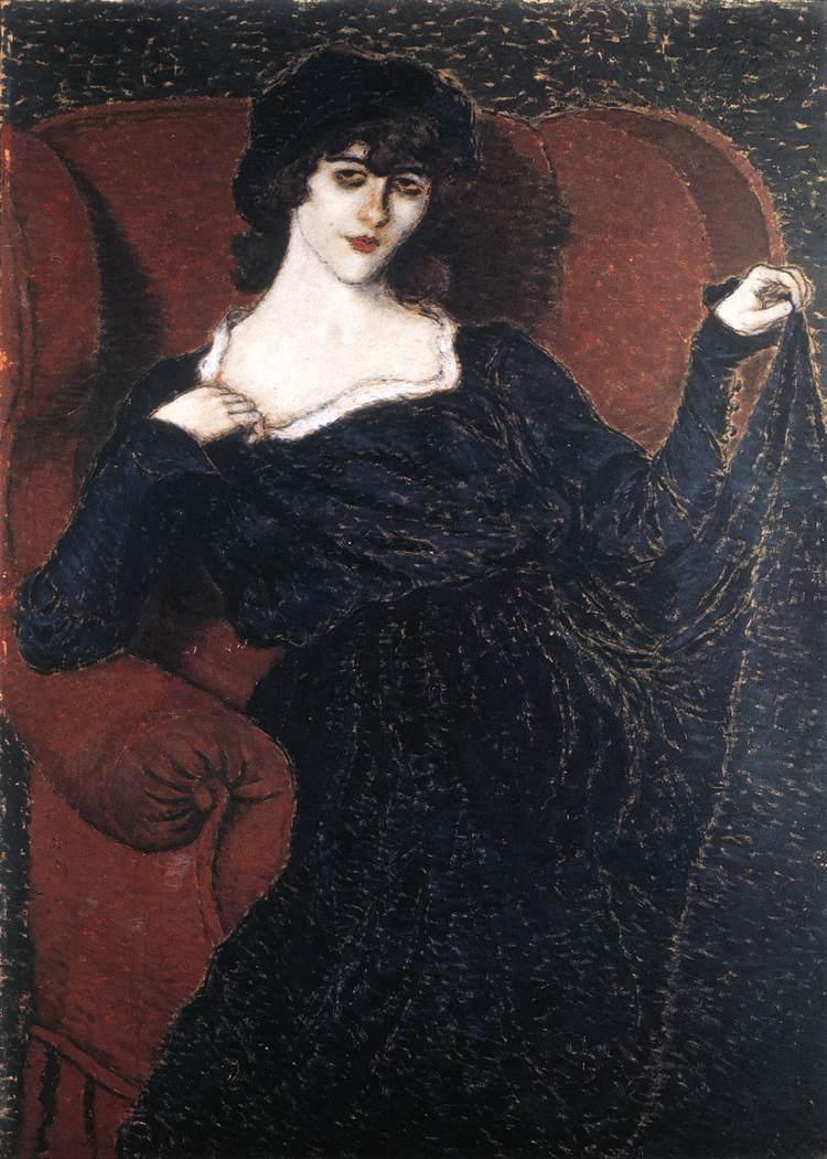 Zorka Banyai in a Black Dress 1911 | Jozsef Ronal Rippl | Oil Painting