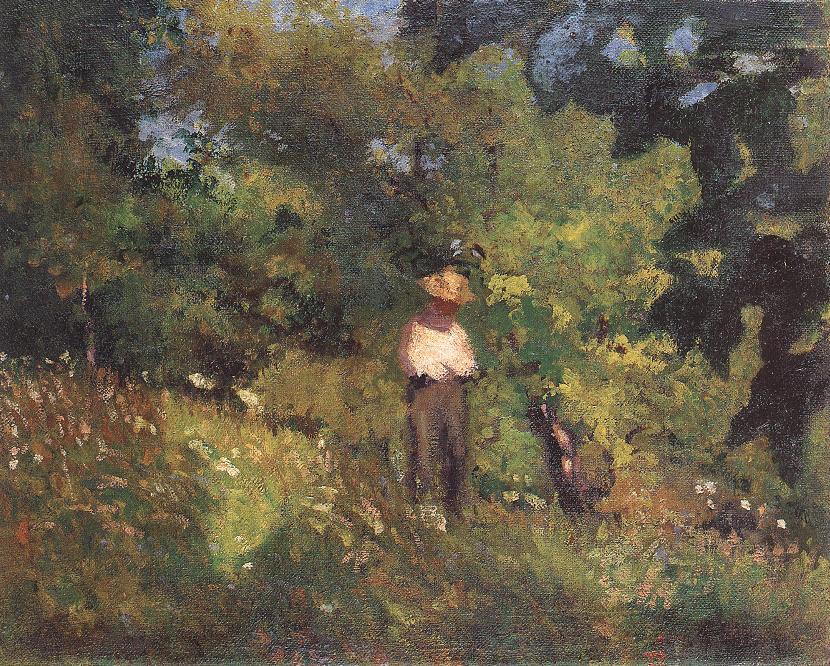 Landscape with Figure 1906   Istvan Reti   Oil Painting