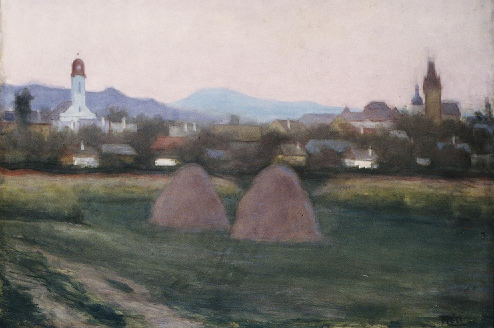 View of Nagybanya 1918   Istvan Reti   Oil Painting