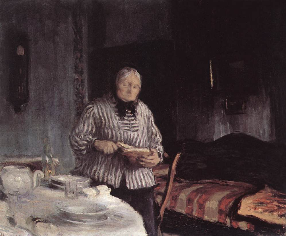 Slicing the Bread 1918   Istvan Reti   Oil Painting