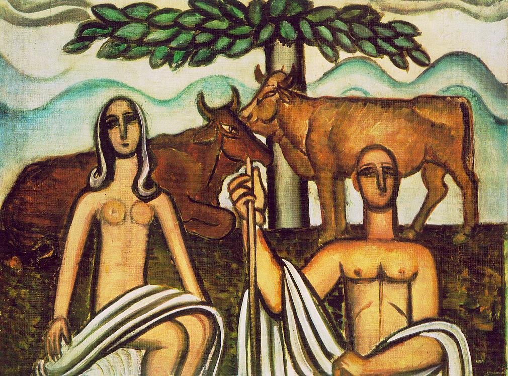 Shepherd and his Lover 1927 | Bertalan Por | Oil Painting
