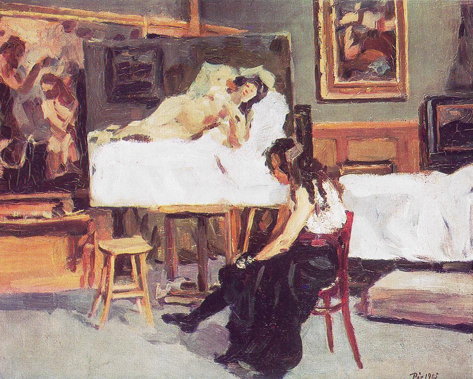 In the Studio 1905 | Bertalan Por | Oil Painting