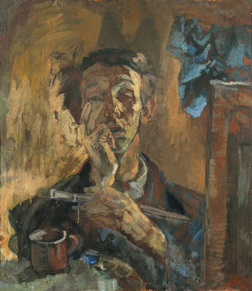 Wartime Misery Self portrait 1945 | Janos Pirk | Oil Painting