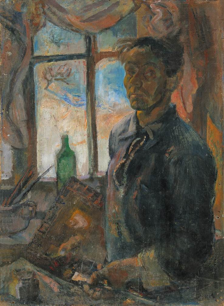 Self portrait with Window 1948 | Janos Pirk | Oil Painting