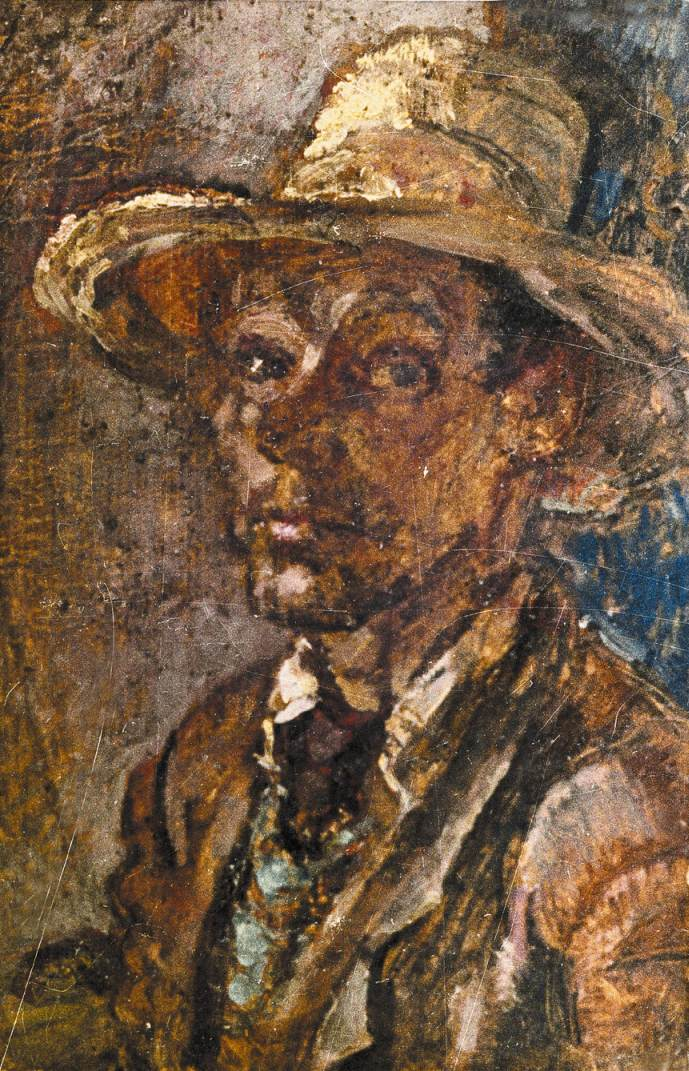 Self portrait with Straw Hat 1960 | Janos Pirk | Oil Painting