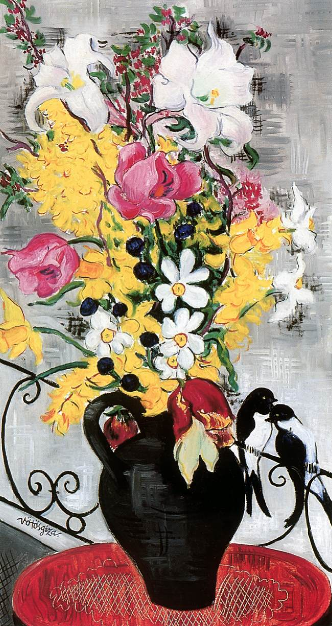 Flower Still life with Swallowsc 1932 | Geza Voros | Oil Painting