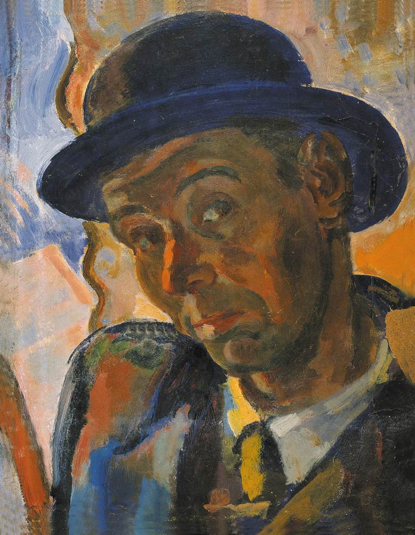 Self portrait in Blue Hat 1938 | Janos Pirk | Oil Painting