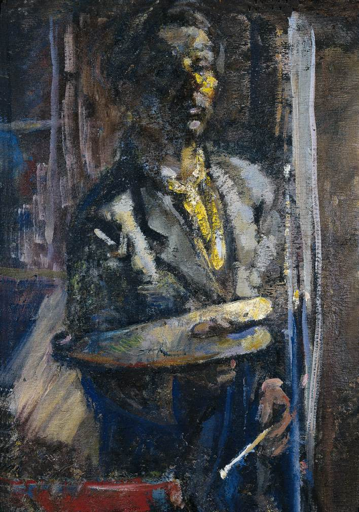 Self portrait in a Mirror 1950 | Janos Pirk | Oil Painting