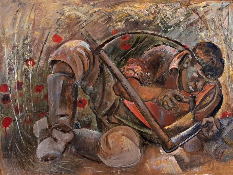 Hammering the Scythe 1942 | Janos Pirk | Oil Painting