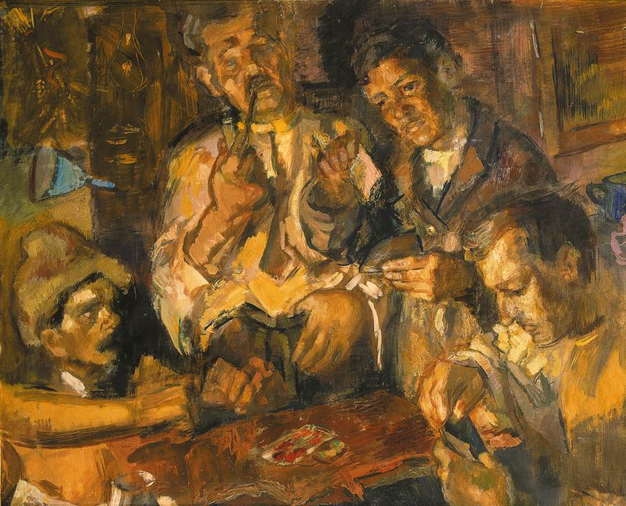 Card Players 1945 | Janos Pirk | Oil Painting