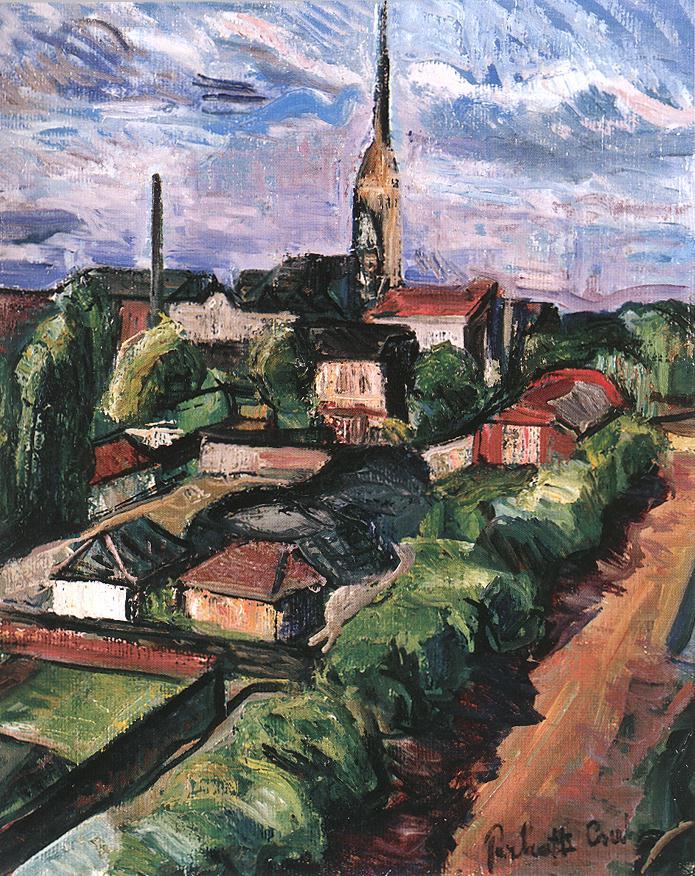 Village from Bird's eye View | Vilmos Csaba Perlrott | Oil Painting