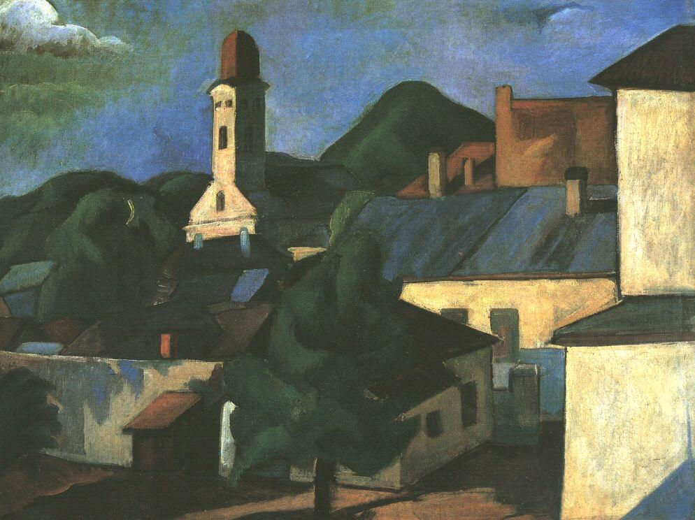 View of a Village (Nagybanya) | Vilmos Csaba Perlrott | Oil Painting