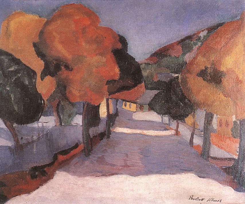 Street at Nagybanya 1907 | Vilmos Csaba Perlrott | Oil Painting