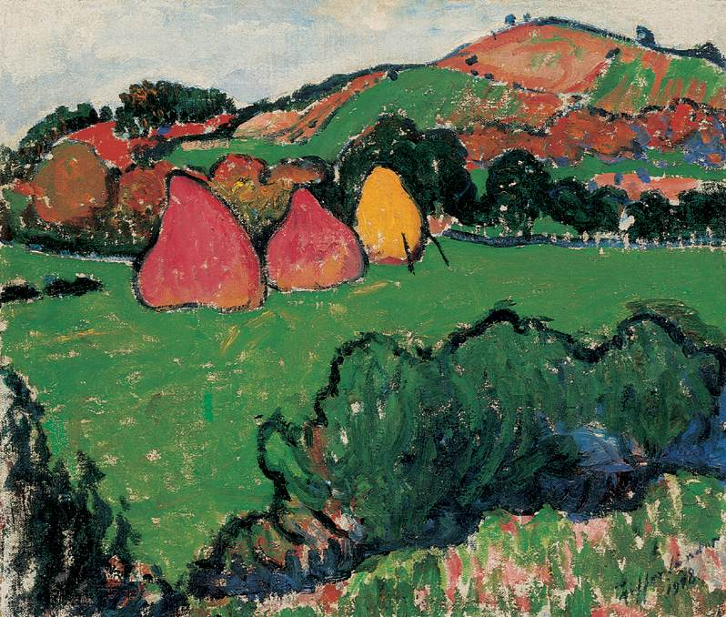 Landscape at Nagybanya with Haystacks 1915 | Sandor Ziffer | Oil Painting