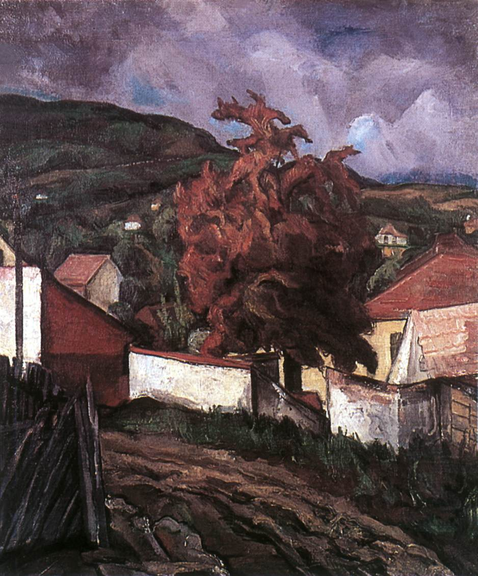 Hillside with Autumnal Tree 1935 | Vilmos Csaba Perlrott | Oil Painting