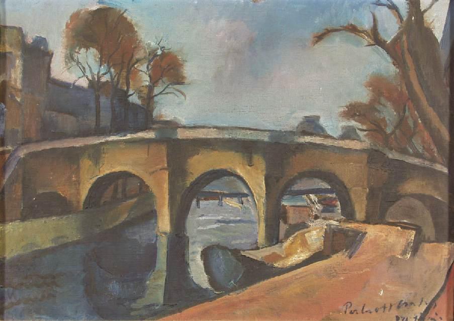 Bank of the Seine (Bridge in Paris) 1931 | Vilmos Csaba Perlrott | Oil Painting