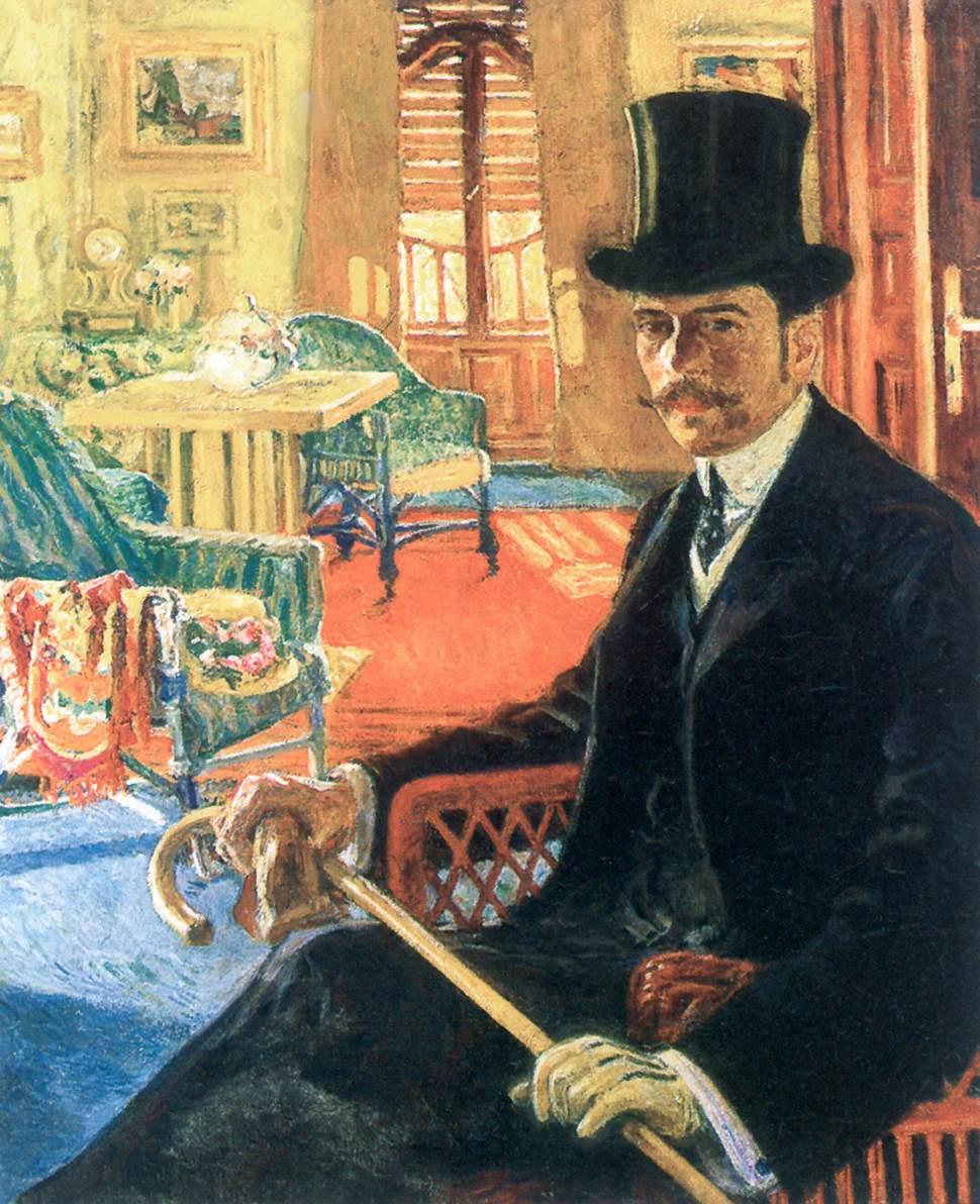 Self portrait Wearing a Top Hat | Izsak Perlmutter | Oil Painting