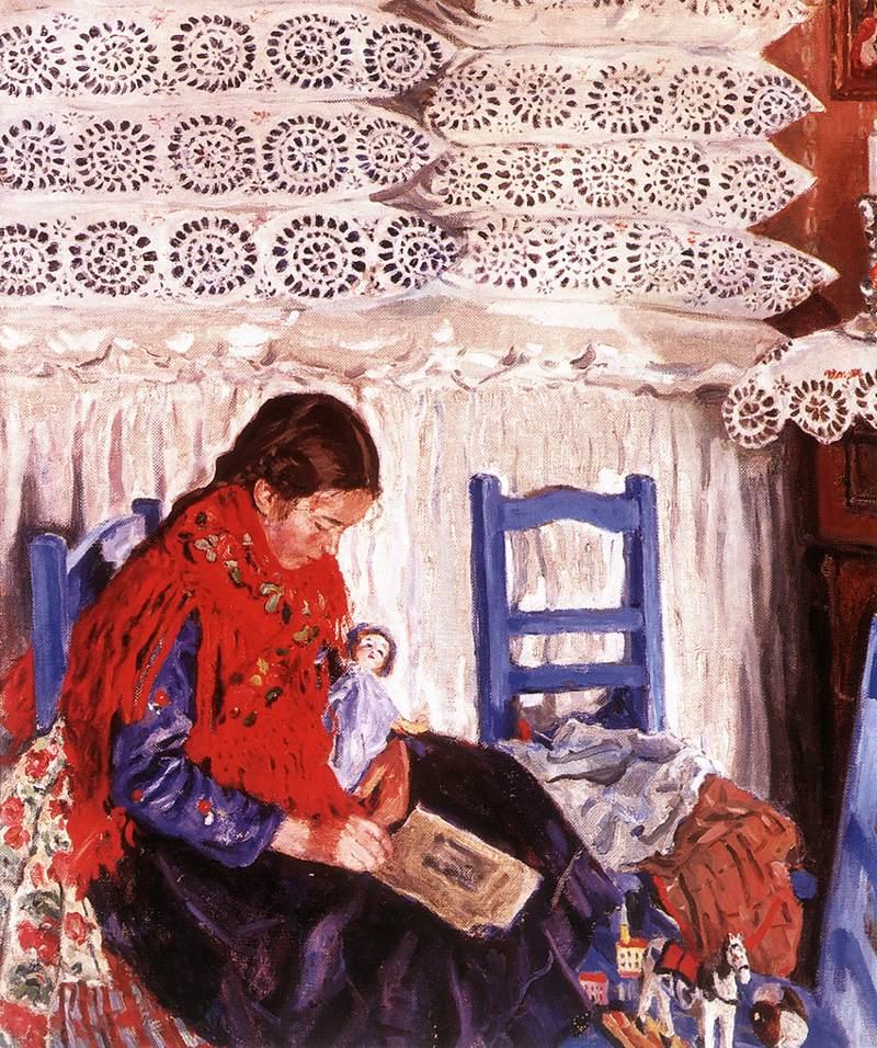 Reading Girl 1926 | Izsak Perlmutter | Oil Painting