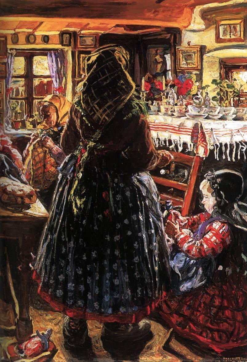 Peasant Interior 1912 | Izsak Perlmutter | Oil Painting