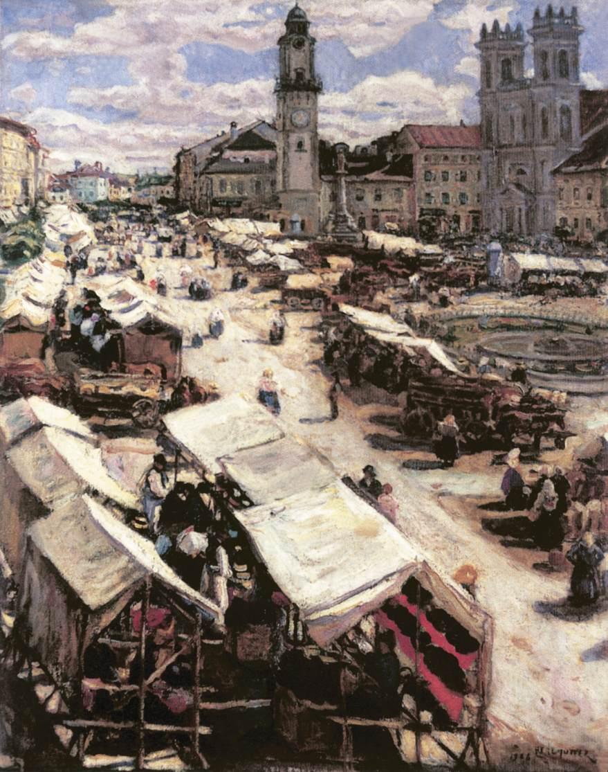 Market at Besztercebanya 1906 | Izsak Perlmutter | Oil Painting