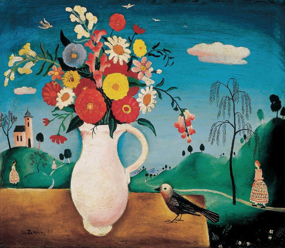 Still life with Bird 1930   Istvan Pekary   Oil Painting