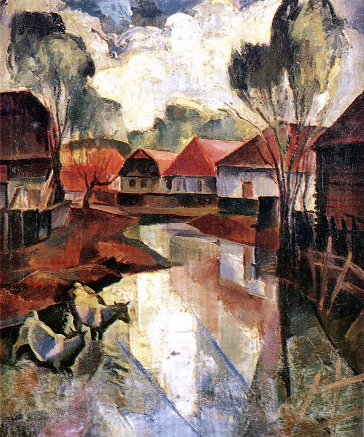 Village in Hungary 1925 | Karoly Patko | Oil Painting