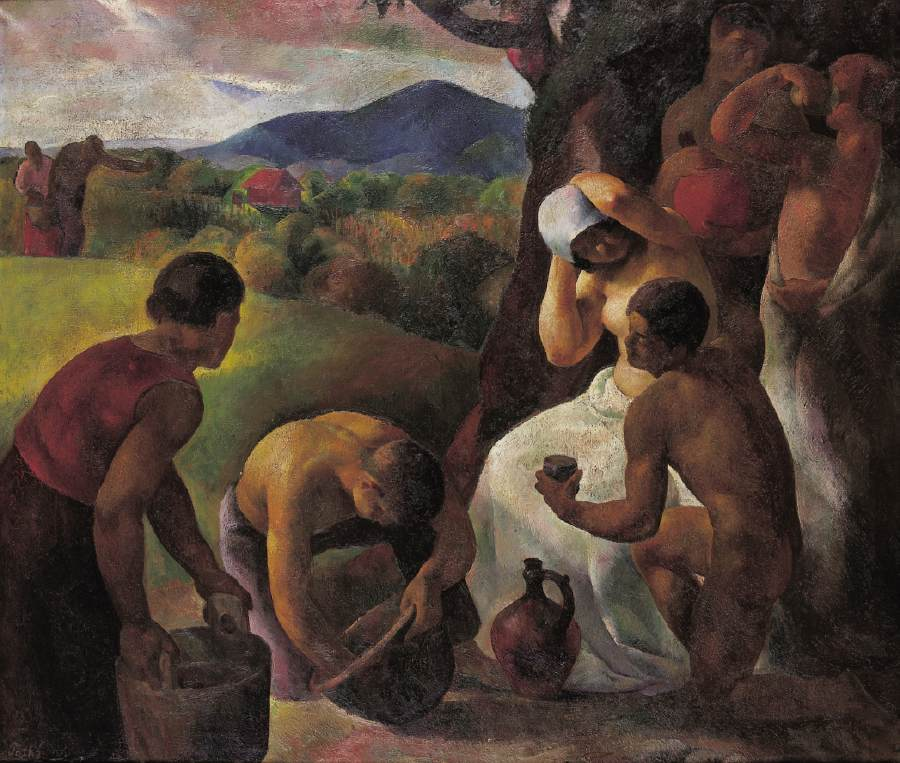 Rest in Harvesting (Harvesters' Rest Harvest Idyll) 1925 | Karoly Patko | Oil Painting