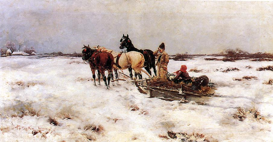 Horse drawn Sleigh | Laszlo Pataky | Oil Painting