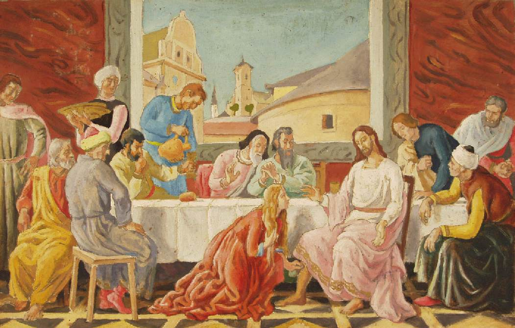 Feast in the House of Simon Pharisee 1933   Lajos Pandy   Oil Painting