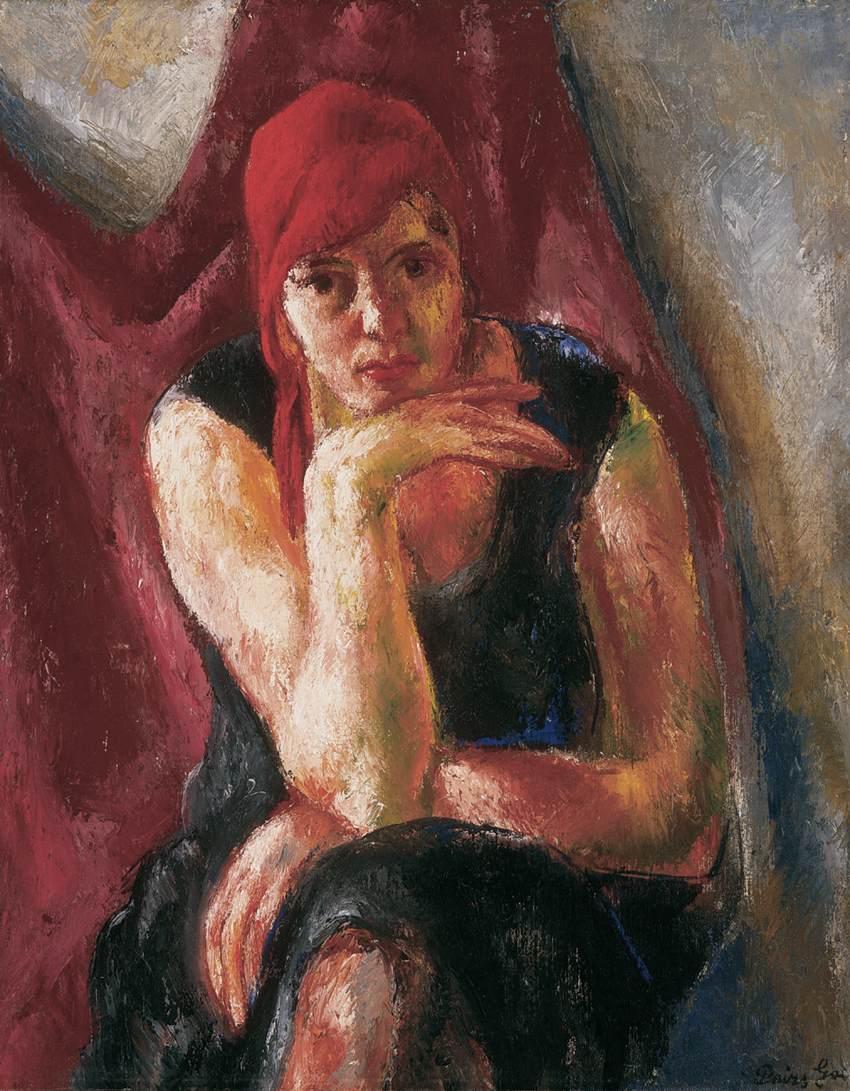 Woman in Blue Robe 1927 | Jeno Goebel Paizs | Oil Painting