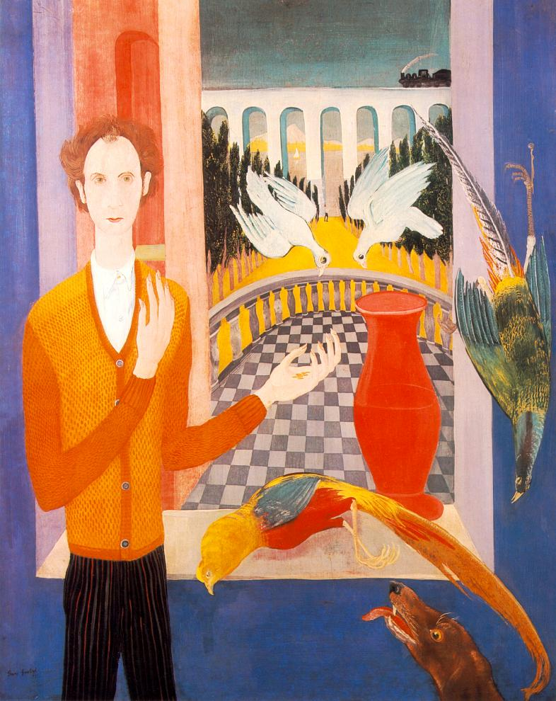 The Golden Age Self portrait with Pigeons 1931 | Jeno Goebel Paizs | Oil Painting