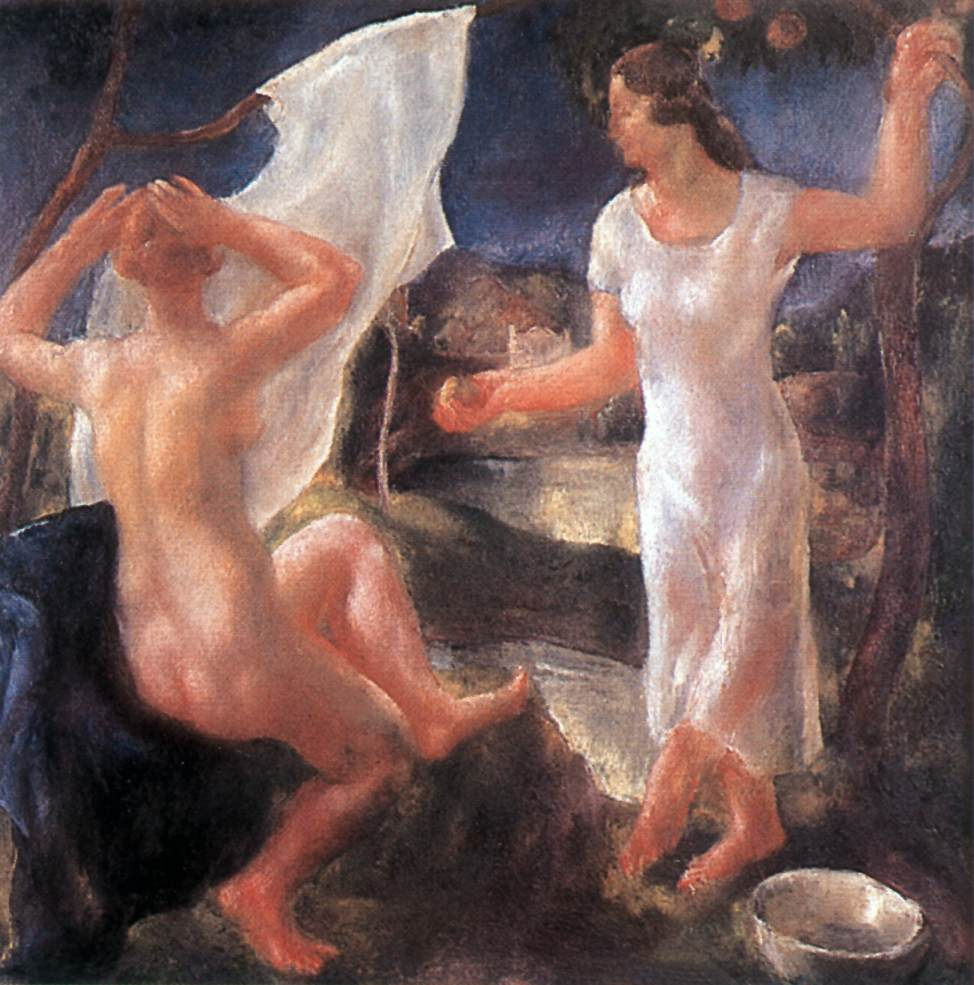 Bathing Women 1928 | Jeno Goebel Paizs | Oil Painting