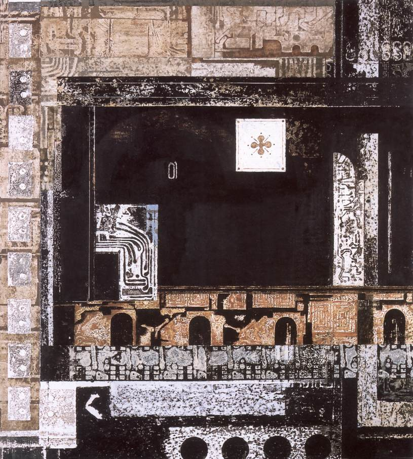 Black Image with Ancient Sign I 1978 | Lili Orszag | Oil Painting