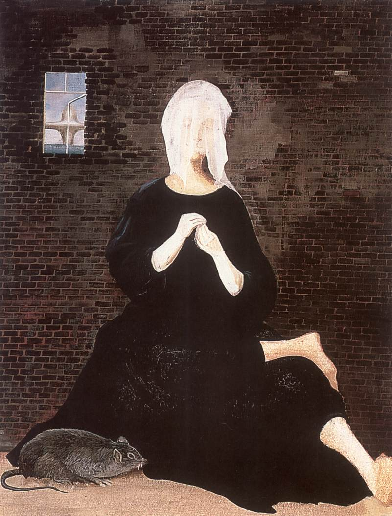 Woman with Veil (Distress Woman in Black Robe) 1955 | Lili Orszag | Oil Painting