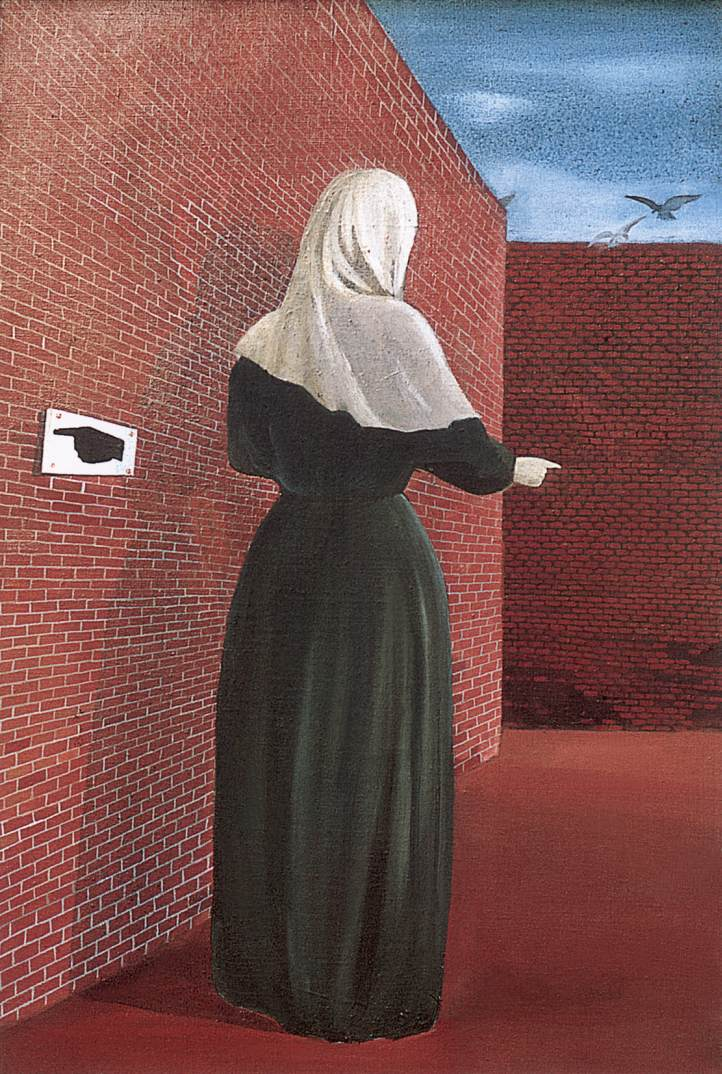 Woman in front of a Wall (Woman with a Veil) 1956 | Lili Orszag | Oil Painting