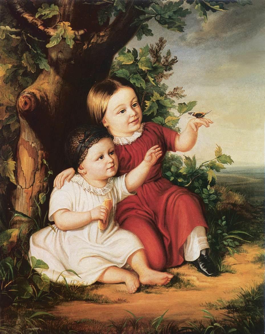 Roza and Eszter Csanak 1852 | Soma Petrics Orlai | Oil Painting
