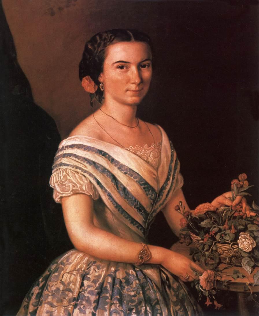 Portrait of Dobosy Lajosne (nee Amalia Kaszap) 1855 | Soma Petrics Orlai | Oil Painting