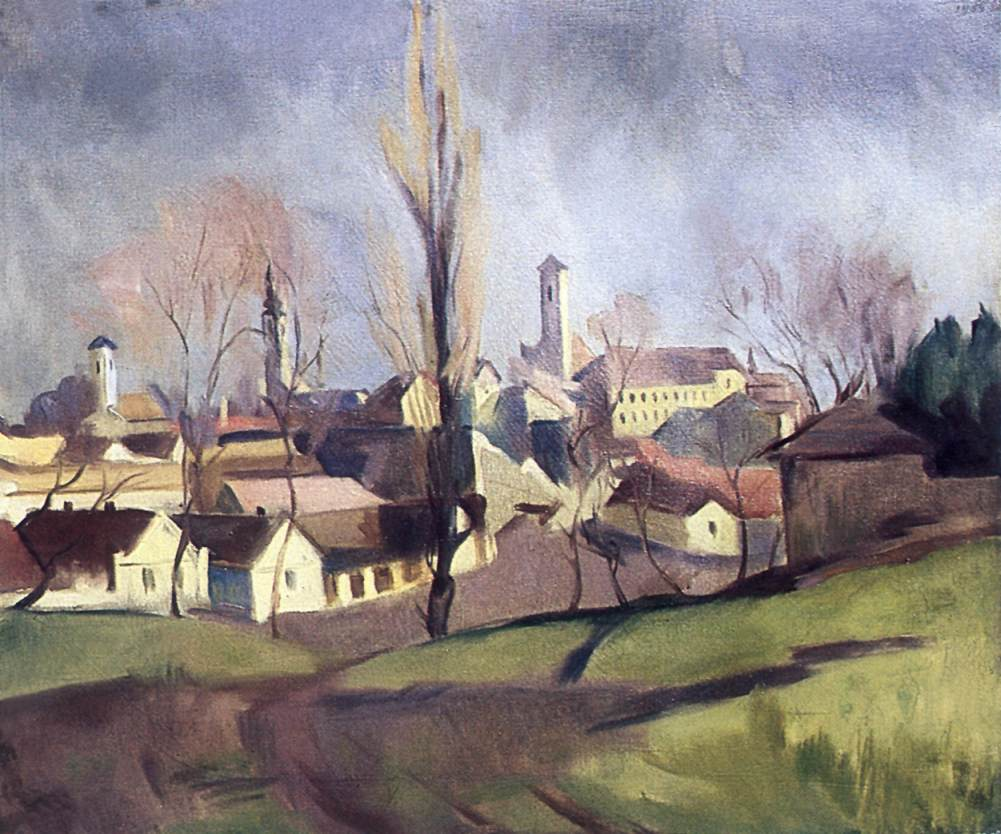 Szentendre Viewed from the Hillside 1934   Bela Onodi   Oil Painting