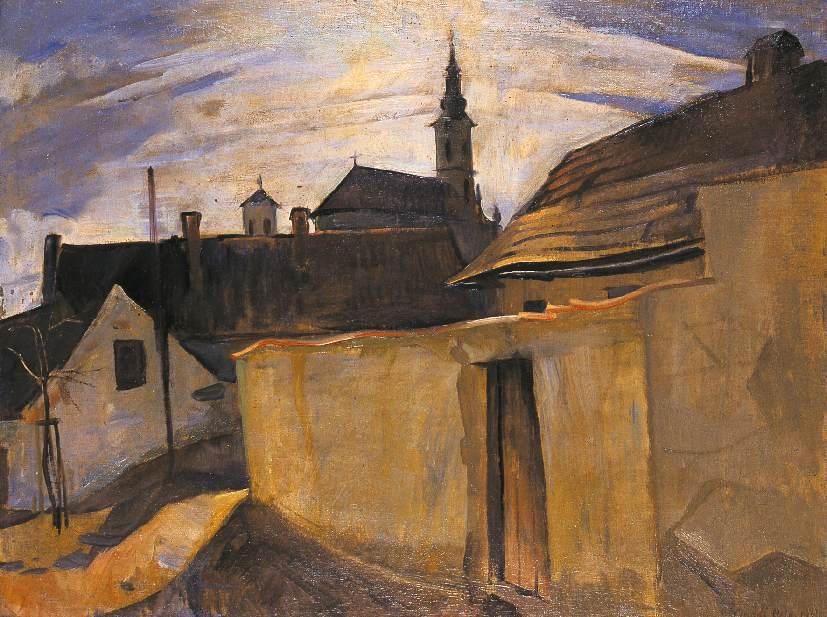 Street in the Outskirts of Szentendre 1934   Bela Onodi   Oil Painting