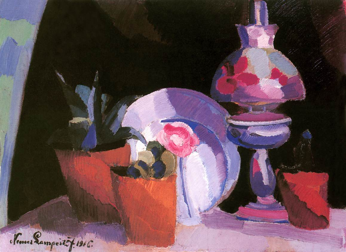 Still life with a Lamp 1916 | Jozsef Lamperth Nemes | Oil Painting