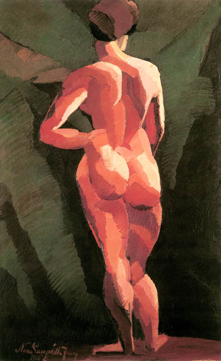 Nude back view 1916 | Jozsef Lamperth Nemes | Oil Painting