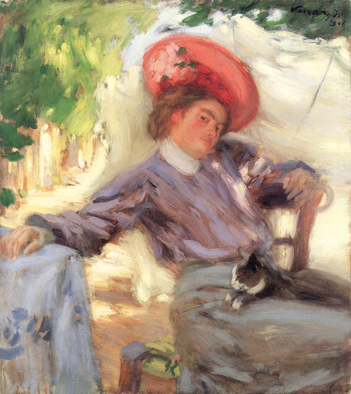 Portrait of a Woman (Woman with Cat) 1906 | Janos Vaszary | Oil Painting