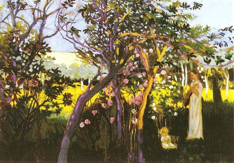 Three figures in a garden 1910 | Sandor Nagy | Oil Painting