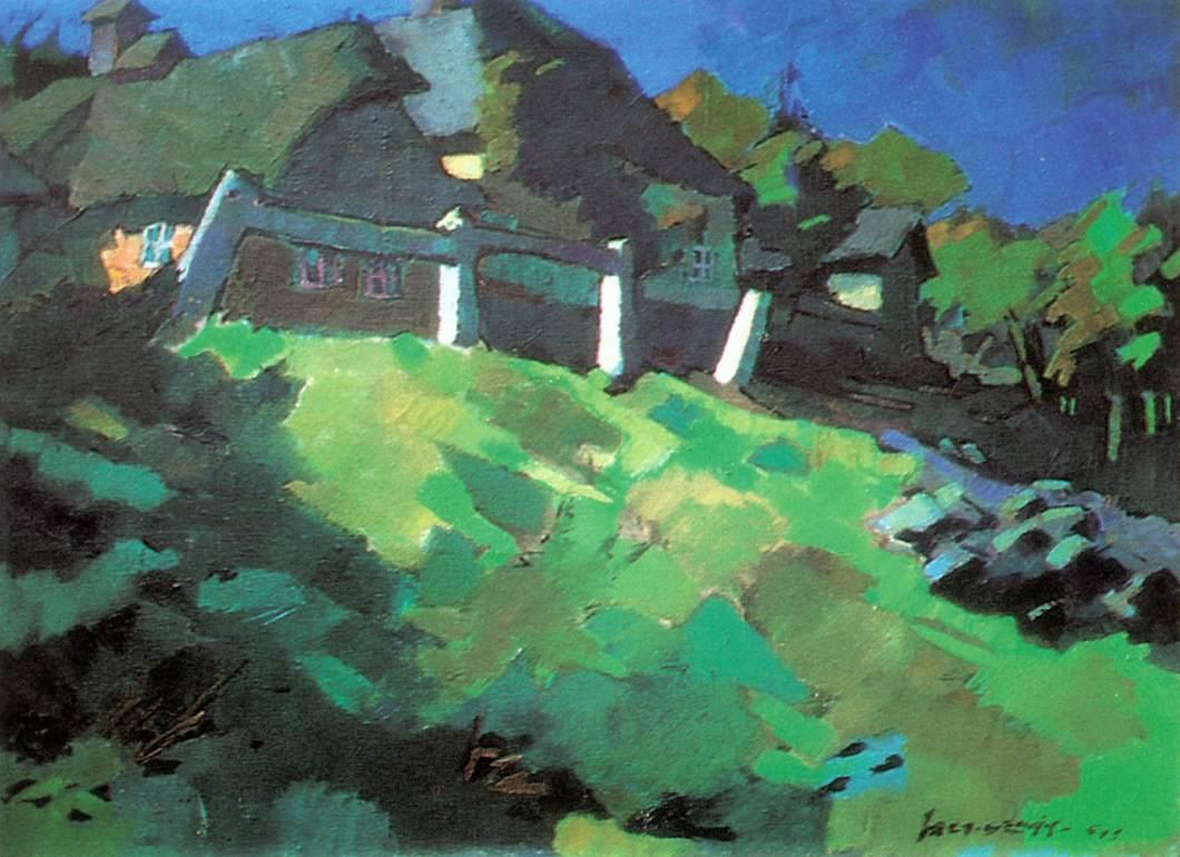 Roadside 1941   Oszkar Nagy   Oil Painting