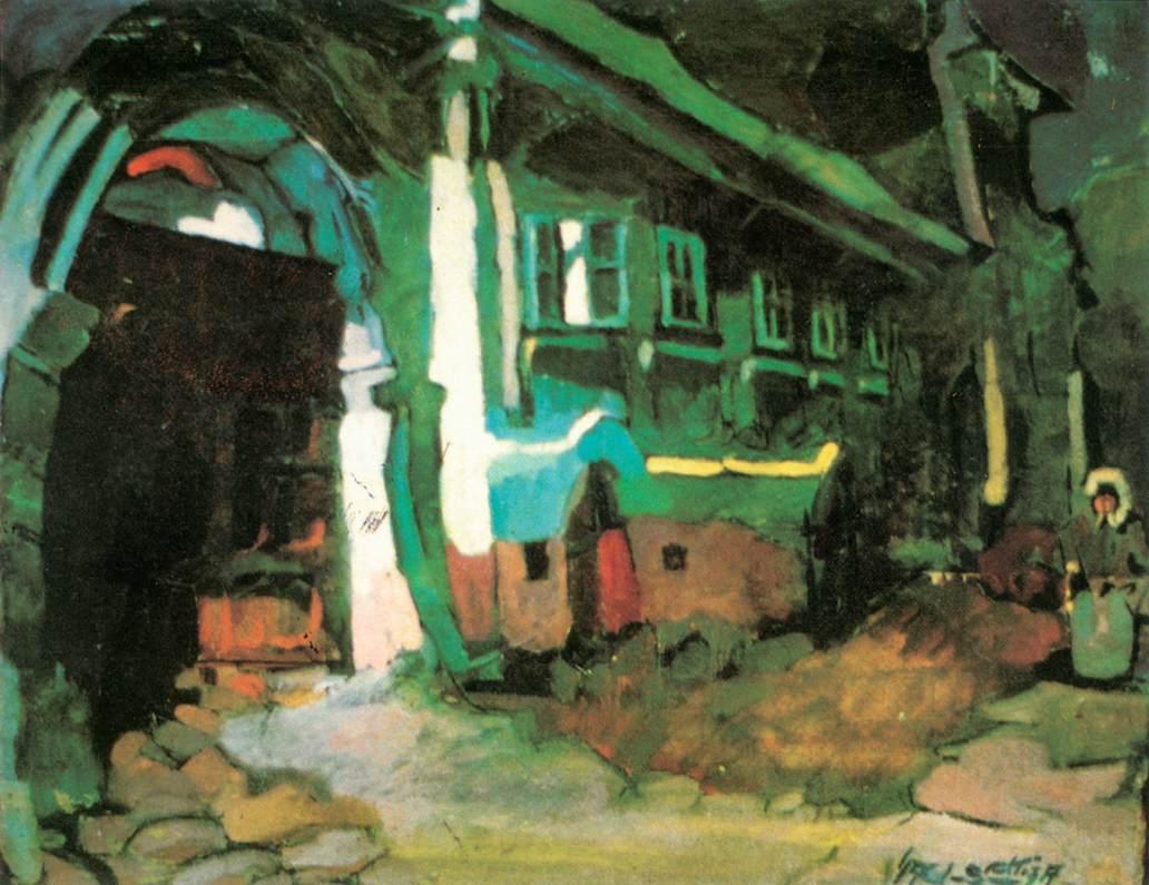 Main Street at Felsobanya 1924   Oszkar Nagy   Oil Painting