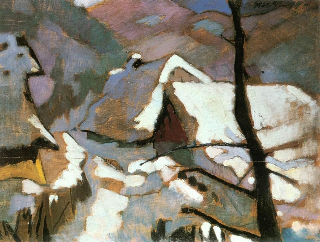 Houses in Winter at Felsobanya 1928   Oszkar Nagy   Oil Painting