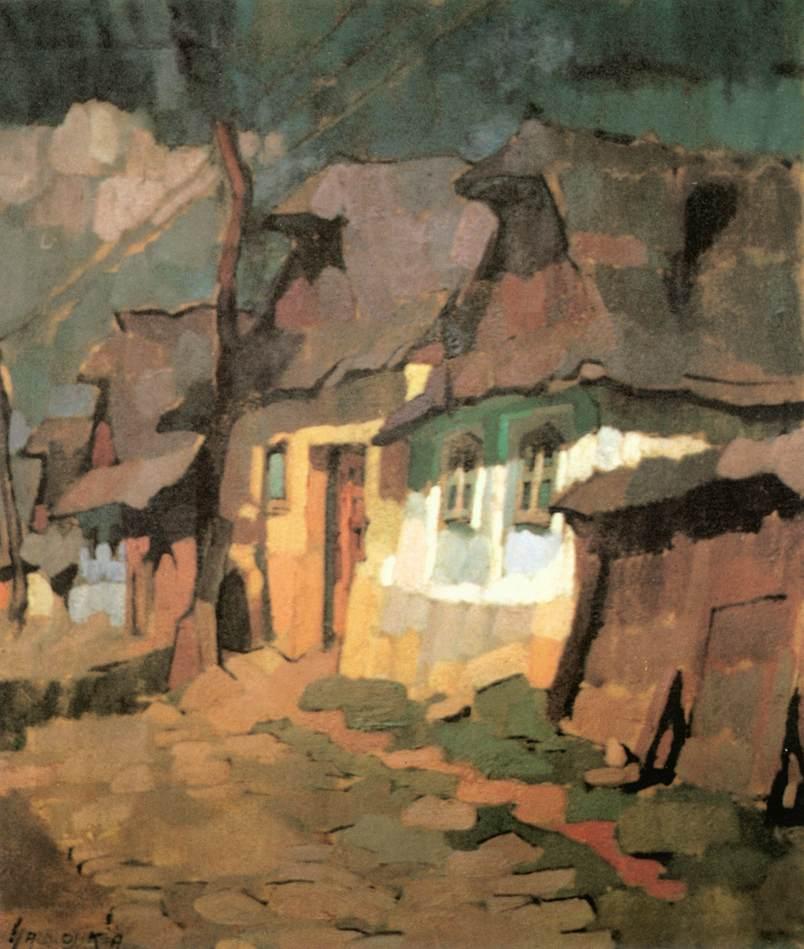 Houses in Var (Palace) Street 1926   Oszkar Nagy   Oil Painting